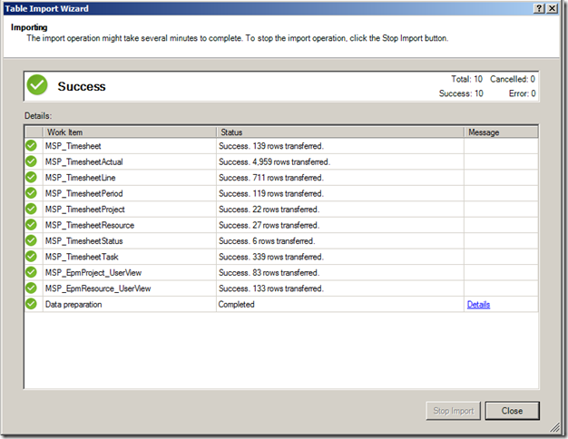 Importing into PowerPivot