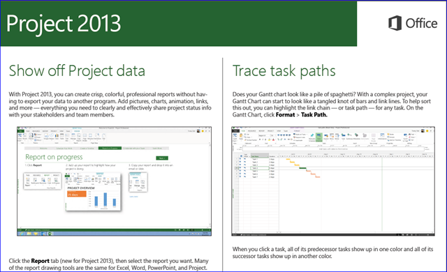 Project 2013 - Reporting and Task Paths