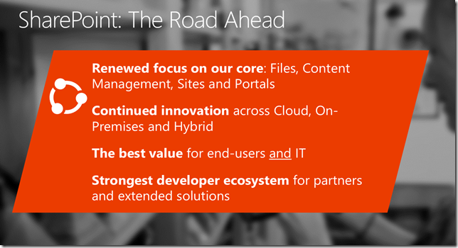 SharePoint 2016 Roadmap Investment Areas